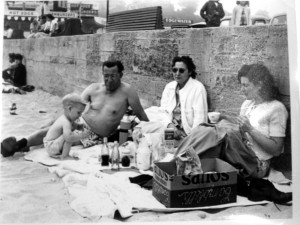 Lyn at the beach with Aunty Louise and her husband Sid