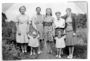Margaret (far right) with her mother Mrs Boyle (second from left, back row), sisters, and daughters Maeve and Rosamund in Ireland after the war